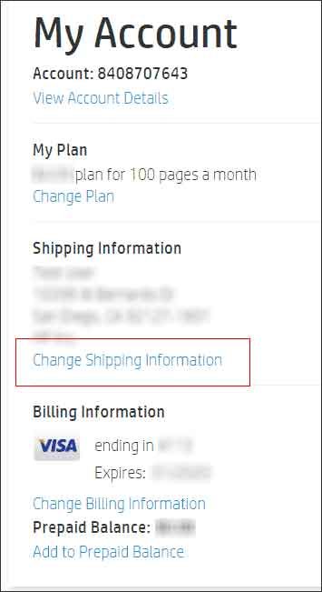 Clicking Change Shipping Information