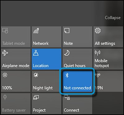 Action Center with Bluetooth highlighted