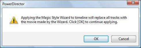 Image of the Apply the Wizard to the timeline message