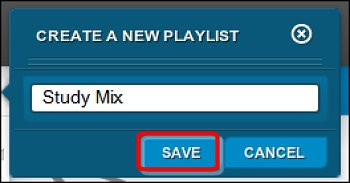 Create a new playlist window with a playlist name entered