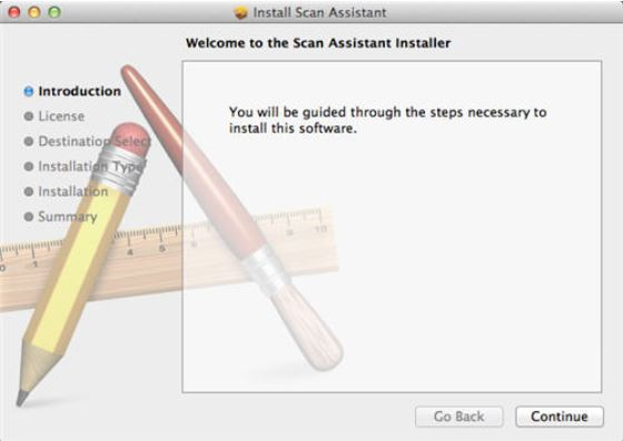 Image shows the Scan Assistant Installer dialog