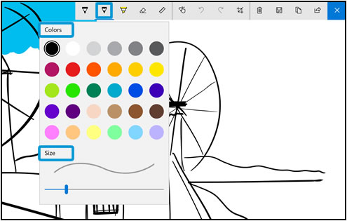 Colors and Size menu for the Pencil tool