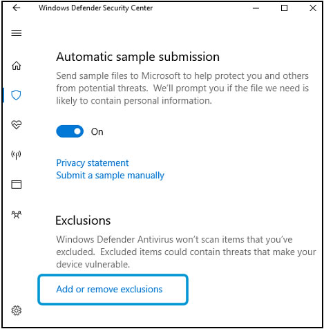 Virus & threat protection settings exclusions area