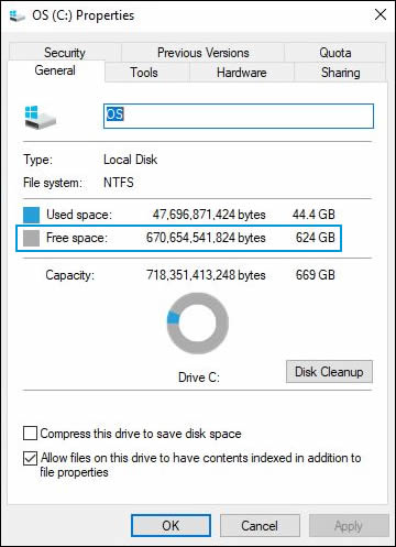 Checking the amount of free space on the main hard drive