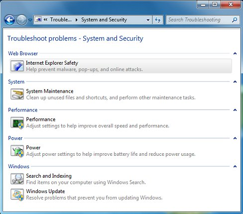 Troubleshoot problems - System and Security