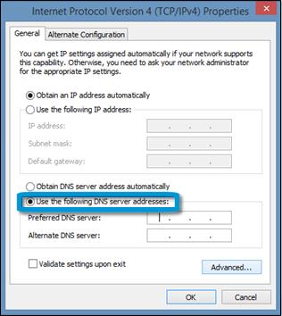 Introducción de un servidor DNS preferido en las propiedades de IPV 4