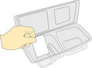 Illustration of placing the ink absorbing pad into the plastic package