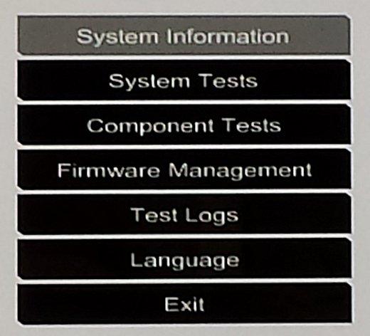 Menu Diagnósticos do desktop