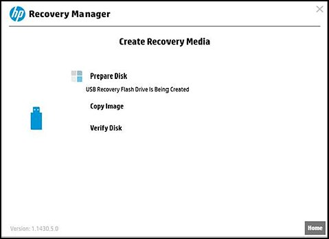 Create Recovery Media preparing the disk, copying image, and verifying disk