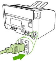 Illustration of reconnecting the power cord.