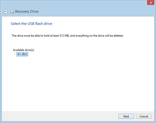 Image of the Recovery Drive window