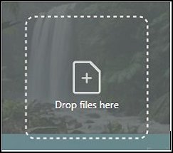 Canvas showing where to drop files