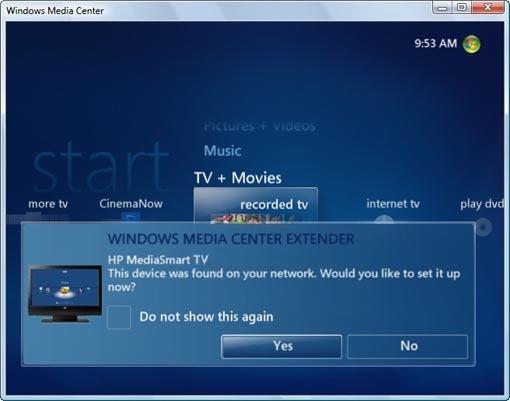 HP MediaSmart TVs - Using the Extender for Windows Media Center ...