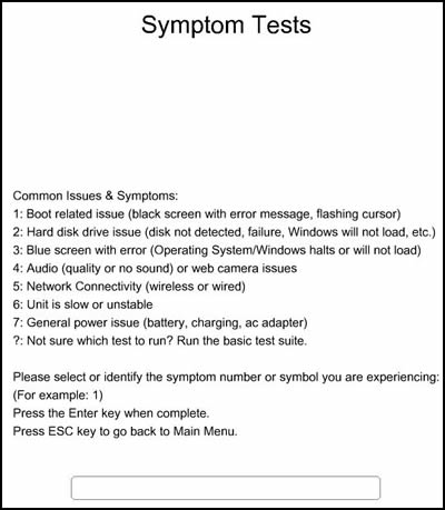 All Symptom Tests displayed