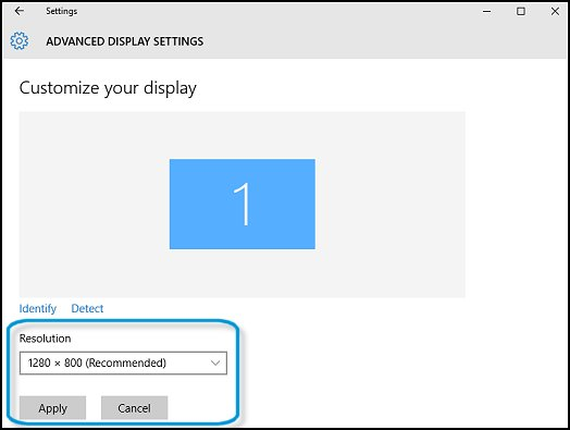 Changing the display resolution