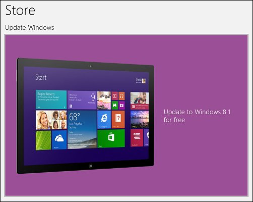 The tile in the Windows Store to update Windows 8 to Windows 8.1