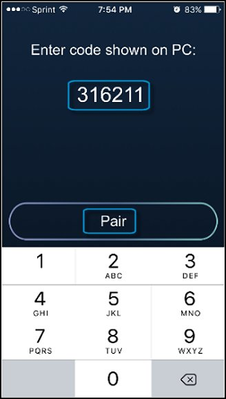 Enter code in HP Orbit iOS app