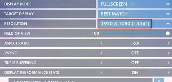 Image displaying Overwatch game settings RESOLUTION