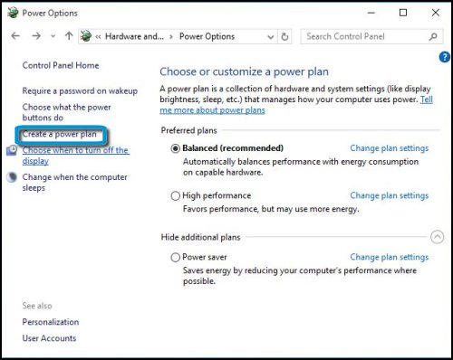 Power options window with Create a power plan highlighted