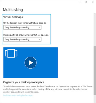 Scroll to the Virtual Desktops section when the Multitasking window displays
