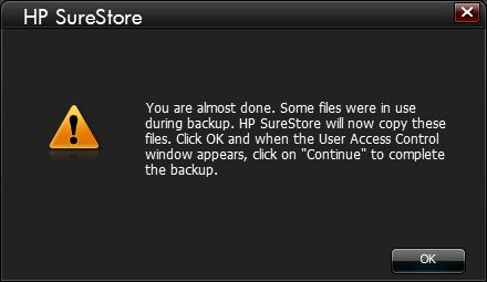 If any files are in use during the backup, the following message is displayed.