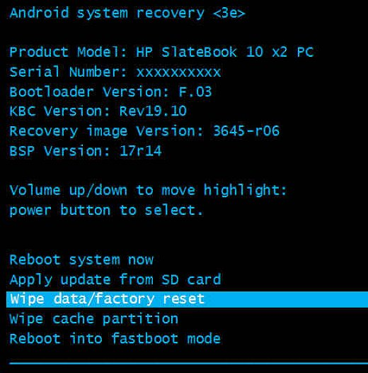 Performing a Factory Reset/Recovery on Your HP SlateBook x2