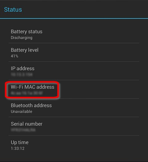 Wi-Fi MAC address