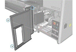 Image: The open door with two Torx fasteners