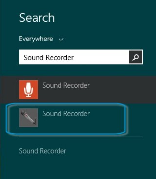 Selecting Sound Recorder from the search list