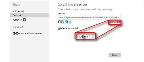 The link to shorten the link on the Get a link to this photo screen in OneDrive