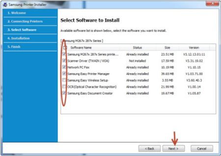 Image shows software installation options