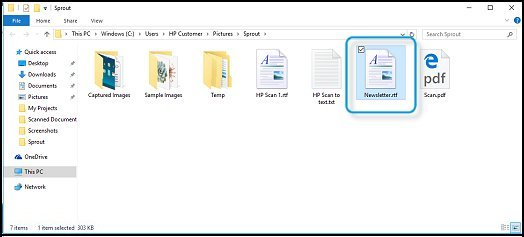 Opening the scanned file in WordPad