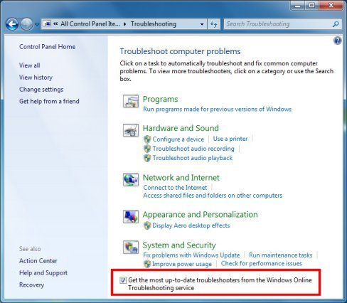 Get the most up-to-date troubleshooters from Windows 7 online troubleshooting service check box