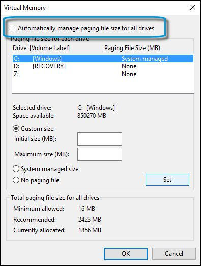 Changing the automatic paging file size