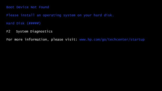 Example of a Boot Device Not Found error screen with a Hard Disc error code