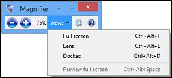 Magnifier toolbar with Views down-arrow selected and list of view choices