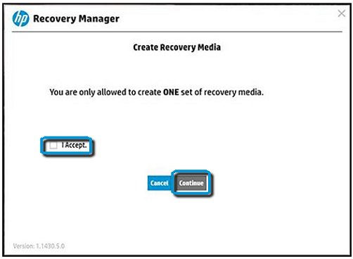 Recovery Manager with I accept and Continue selected