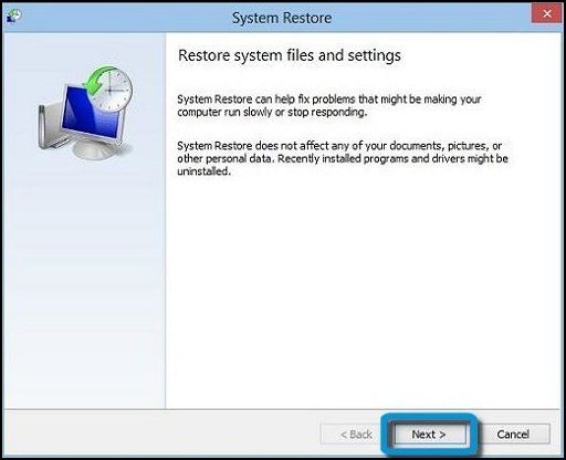 Restore system files and settings window with Next selected