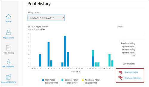 Viewing the Print History and clicking Download Invoice