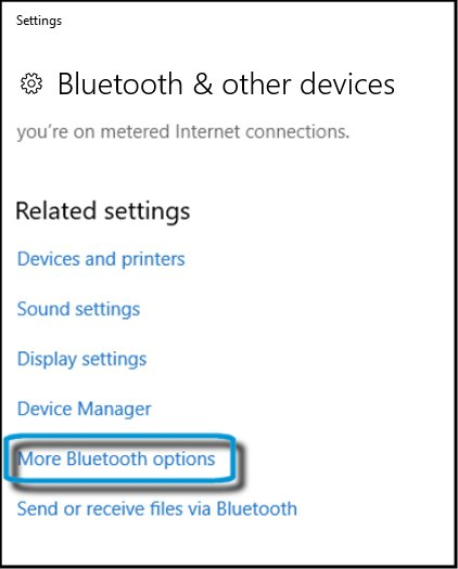 Selecting More Bluetooth options