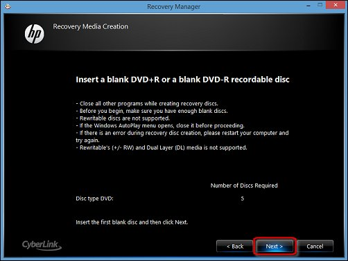 Image of the Recovery Media Creation screen, with Next highlighted