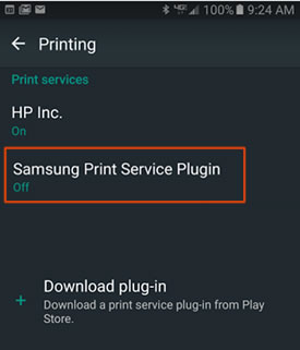 Example of the Samsung Print Service Plugin