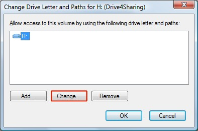 Change Drive Letter window with Change highlighted