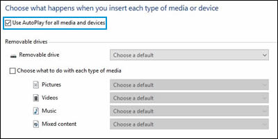 Autoplay window, Use AutoPlay for all media and devices