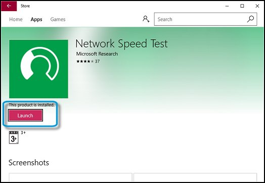 Starting the Network Speed Test