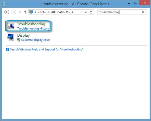 Troubleshooting search results in the Control Panel