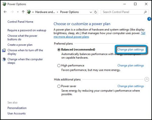 Change plan settings highlighted