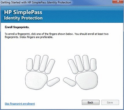Image of  enroll fingerprint screen