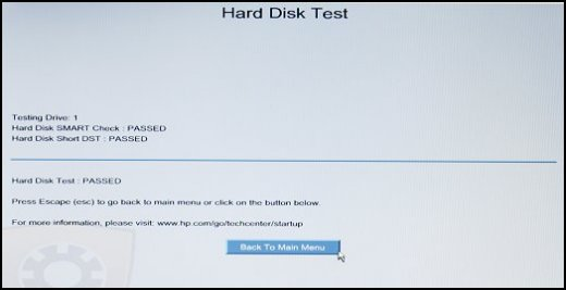 Hard Disk Test screen with Back to Main Menu selected