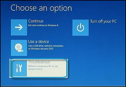 Choose an option: Troubleshoot